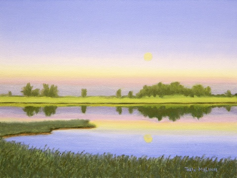 """Farm Pond Moon Rise"""